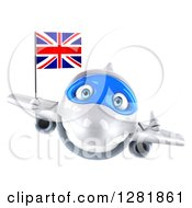 Clipart Of A 3d White Airplane Holding A Thumb Up And Flying With A British Flag Royalty Free Illustration