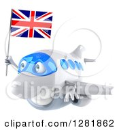 Clipart Of A 3d White Airplane Flying To The Left With A British Flag Royalty Free Illustration