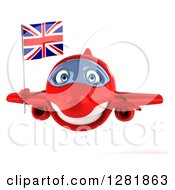 Clipart Of A 3d Red Airplane Flying With A British Flag Royalty Free Illustration