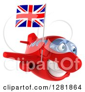Clipart Of A 3d Red Airplane Flying To The Right With A British Flag Royalty Free Illustration