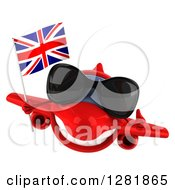 Clipart Of A 3d Red Airplane Wearing Sunglasses Holding A Thumb Up And Flying With A British Flag Royalty Free Illustration