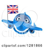 Clipart Of A 3d Blue Airplane Holding A Thumb Up And Flying With A British Flag Royalty Free Illustration