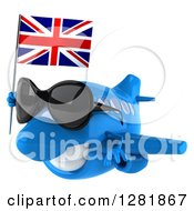 Clipart Of A 3d Blue Airplane Wearing Sunglasses And Flying To The Left With A British Flag Royalty Free Illustration