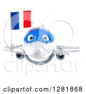 Clipart Of A 3d Happy White Airplane Flying With A French Flag Royalty Free Illustration