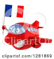 Clipart Of A 3d Happy Red Airplane Flying To The Left With A French Flag Royalty Free Illustration