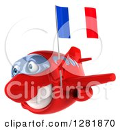 Clipart Of A 3d Happy Red Airplane Flying To The Left With A French Flag 2 Royalty Free Illustration
