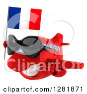 Clipart Of A 3d Happy Red Airplane Wearing Sunglasses And Flying To The Left With A French Flag Royalty Free Illustration