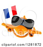 Clipart Of A 3d Happy Orange Airplane Wearing Sunglasses Holding A Thumb Up And Flying With A French Flag Royalty Free Illustration