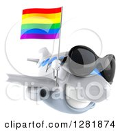 Clipart Of A 3d Happy White Airplane Wearing Sunglasses And Flying To The Right With A LGBT Rainbow Flag Royalty Free Illustration