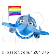 Clipart Of A 3d Happy Blue Airplane Holding A Thumb Up And Flying With A LGBT Rainbow Flag Royalty Free Illustration