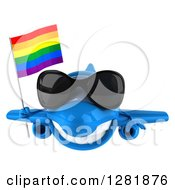 Clipart Of A 3d Happy Blue Airplane Wearing Sunglasses And Flying With A LGBT Rainbow Flag Royalty Free Illustration