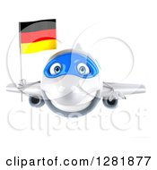 Clipart Of A 3d Happy White Airplane Flying With A German Flag Royalty Free Illustration