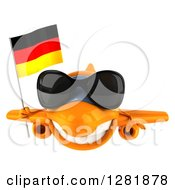 Clipart Of A 3d Happy Orange Airplane Wearing Sunglasses And Flying With A German Flag Royalty Free Illustration