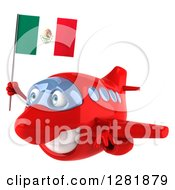 Clipart Of A 3d Red Airplane Flying To The Left With A Mexican Flag Royalty Free Illustration