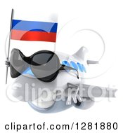 Clipart Of A 3d Happy White Airplane Wearing Sunglasses And Flying To The Left With A Russian Flag Royalty Free Illustration