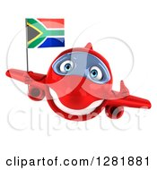 Clipart Of A 3d Red Airplane Holding A Thumb Up And Flying With A South African Flag Royalty Free Illustration