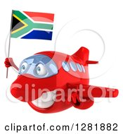 Clipart Of A 3d Red Airplane Flying To The Left With A South African Flag Royalty Free Illustration