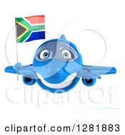 Clipart Of A 3d Blue Airplane Flying With A South African Flag Royalty Free Illustration