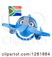 Clipart Of A 3d Blue Airplane Holding A Thumb Up And Flying With A South African Flag Royalty Free Illustration