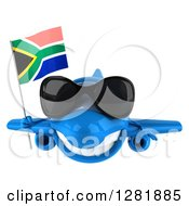 Clipart Of A 3d Blue Airplane Wearing Sunglasses And Flying With A South African Flag Royalty Free Illustration