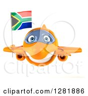 Clipart Of A 3d Orange Airplane Flying With A South African Flag Royalty Free Illustration