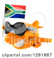 Clipart Of A 3d Orange Airplane Wearing Sunglasses And Flying To The Left With A South African Flag Royalty Free Illustration