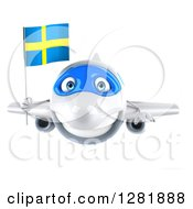 Clipart Of A 3d Happy White Airplane Flying With A Swedish Flag Royalty Free Illustration