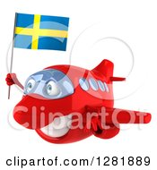Clipart Of A 3d Happy Red Airplane Flying To The Left With A Swedish Flag Royalty Free Illustration