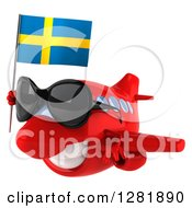 Clipart Of A 3d Happy Red Airplane Wearing Sunglasses And Flying To The Left With A Swedish Flag Royalty Free Illustration