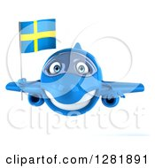 Clipart Of A 3d Happy Blue Airplane Flying With A Swedish Flag Royalty Free Illustration
