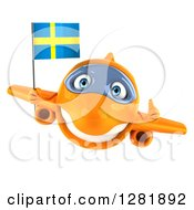 Clipart Of A 3d Happy Orange Airplane Holding A Thumb Up And Flying With A Swedish Flag Royalty Free Illustration