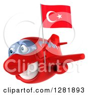 Clipart Of A 3d Happy Red Airplane Flying Left With A Turkey Flag Royalty Free Illustration