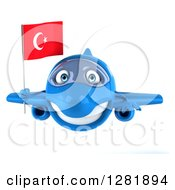 Clipart Of A 3d Happy Blue Airplane Flying With A Turkey Flag Royalty Free Illustration