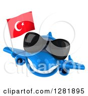 Clipart Of A 3d Happy Blue Airplane Wearing Sunglasses Holding A Thumb Up And Flying With A Turkey Flag Royalty Free Illustration