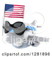 Clipart Of A 3d Happy White Airplane Wearing Sunglasses And Flying To The Left With An American Flag Royalty Free Illustration