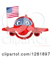 Clipart Of A 3d Happy Red Airplane Flying With An American Flag Royalty Free Illustration