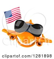 Clipart Of A 3d Happy Orange Airplane Wearing Sunglasses Holding A Thumb Up And Flying With An American Flag Royalty Free Illustration