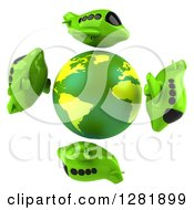 Clipart Of A 3d Globe Encircled By Green Airplanes Royalty Free Illustration