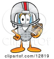 Clipart Picture Of A Wireless Cellular Telephone Mascot Cartoon Character In A Helmet Holding A Football by Toons4Biz