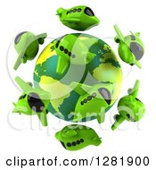 Clipart Of A 3d Globe Surrounded By Green Airplanes Royalty Free Illustration