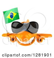 Clipart Of A 3d Happy Orange Airplane Wearing Sunglasses And Flying With A Brazilian Flag Royalty Free Illustration