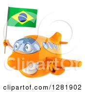 Clipart Of A 3d Happy Orange Airplane Flying To The Left With A Brazilian Flag Royalty Free Illustration