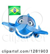 Clipart Of A 3d Happy Blue Airplane Holding A Thumb Up And Flying With A Brazilian Flag Royalty Free Illustration