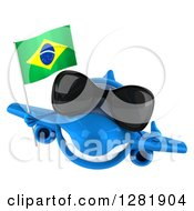 Clipart Of A 3d Happy Blue Airplane Wearing Sunglasses Holding A Thumb Up And Flying With A Brazilian Flag Royalty Free Illustration