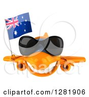 Clipart Of A 3d Happy Orange Airplane Wearing Sunglasses And Flying With An Australian Flag Royalty Free Illustration