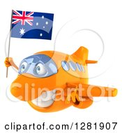 Clipart Of A 3d Happy Orange Airplane Flying To The Left With An Australian Flag Royalty Free Illustration