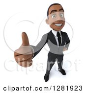Clipart Of A 3d Young Black Businessman Holding Up A Thumb Royalty Free Vector Illustration by Julos