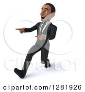 Clipart Of A 3d Encouraging Young Black Businessman Walking And Pointing To The Left Royalty Free Vector Illustration