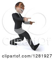 Clipart Of A 3d Encouraging Young Black Businessman Walking And Pointing To The Right Royalty Free Vector Illustration