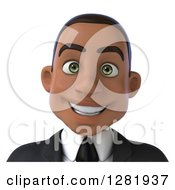 Clipart Of A 3d Young Black Businessman From The Shoulders Up Royalty Free Vector Illustration